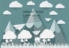 Ilustracja, niebo z chmurą, góra, i projekt papierowym sztuki i rzemiosła stylem ilustracji