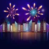 Ilustracja nocy miasto Obrazy Stock