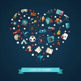 Ilustracja nowożytne płaskie projekta hobby ikony i Fotografia Royalty Free