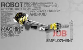 Ilustracja o robotach bierze istotom ludzkim pracy zdjęcie stock