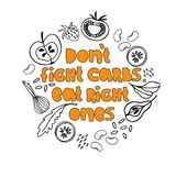 Ilustracja odbija pomysł zrównoważony odżywianie Wręcza literowanie i ręka rysujących obrazki zdrowi carb foods ilustracja wektor