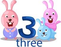 Liczby 3 charakter z królikami Zdjęcia Stock