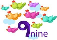 Liczby 9 charakter z ptakami Zdjęcia Stock