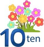 Number10 charakter z kwiatami Obrazy Stock