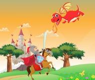 Ilustracja odważny rycerza bój z smokiem royalty ilustracja
