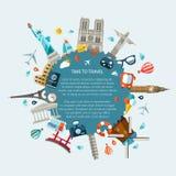 Ilustracja płaski projekt podróży skład Obrazy Stock