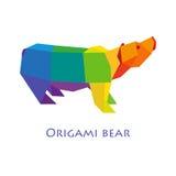 Ilustracja płaski projekt z origami niedźwiedziem odizolowywającym na popielatym tle Zdjęcia Stock