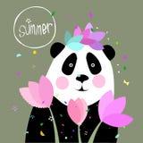 Ilustracja panda i kwiaty Zdjęcia Royalty Free