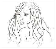 Ilustracja piękna dziewczyna z długie włosy Zdjęcia Royalty Free