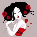 Ilustracja piękna gejsza w czerwieni sukni bardzo namiętny i delikatny Obrazy Stock