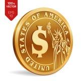 ilustracja piękny menniczy dolarowy wektor 3D isometric Fizyczna złota moneta z Dolarowym symbolem z wizerunkiem statua wolności  ilustracja wektor