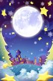 Ilustracja: Piękny miasteczko w Bożenarodzeniowej nocy! Życzenia Karciany tło Zdjęcia Royalty Free