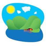 Ilustracja piękny scena krajobraz z domem na jeziorze z górami Obraz Stock