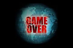 Ilustracja piksel czerwona gra nad ekranem na błękitnym cyfrowym światowym kuli ziemskiej tle Fotografia Royalty Free