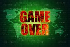 Ilustracja piksel czerwona gra nad ekranem na zielonym cyfrowym światowej mapy tle Zdjęcia Royalty Free