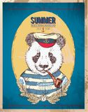 Ilustracja pirat panda na błękitnym tle w wektorze ilustracji