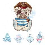 Ilustracja pirata mopsa pies royalty ilustracja