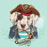 Ilustracja pirata pies na błękitnym tle w wektorze ilustracji