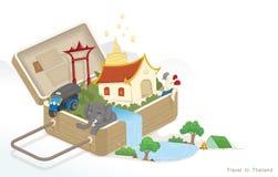 Ilustracja podr??uje z baga?em Tajlandia, kultura Tajlandia Ewidencyjny graficzny element, ikona, symbol/, wektor ilustracji