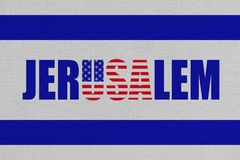 Ilustracja pomysł ruszać się USA ambasadę Jerozolima, nowy kapitał Izrael ilustracji