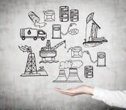 Ilustracja przemysłów paliwowych składniki na ścianie Fotografia Stock