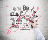 Ilustracja przemysłów paliwowych składniki na betonowej ścianie Obrazy Stock