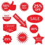 ilustracja przylepiać etykietkę czerwonego s ustalony etykietek valentine wektor Zdjęcia Stock