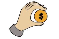 Ilustracja ręka z dolarowym pieniądze na białym tle Inwestycji i wzrosta pieniądze ilustracji