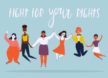 Ilustracja różnorodna grupa skokowe kobiety ilustracji