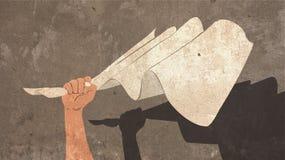Ilustracja ręki mienia biała flaga Malująca na betonowej ścianie z cieniem poddanie Obraz Royalty Free