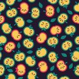 Ilustracja rżnięci jabłka, bezszwowy wzór Zdjęcia Royalty Free