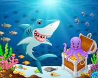Ilustracja rekin pod morzem ilustracji