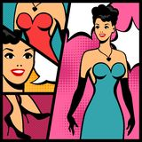 Ilustracja retro dziewczyna w wystrzał sztuki stylu Zdjęcie Royalty Free