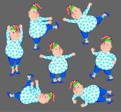 Ilustracja robi ranków ćwiczeniom śmieszny mężczyzna Obraz Stock