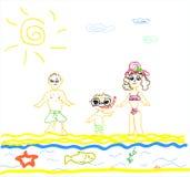 Ilustracja Rodzina na Plaży na biały backgro Zdjęcie Royalty Free