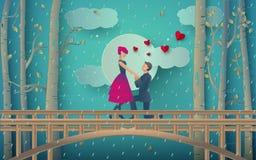 ilustracja romantyczna para propozycję małżeństwo na dżdżystym lesie i moscie ilustracji