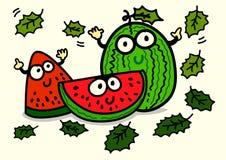 Ilustracja Rozochocony kreskówka arbuza charakter zdjęcie stock