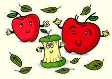 Ilustracja Rozochocony kreskówki Apple charakter Obrazy Stock