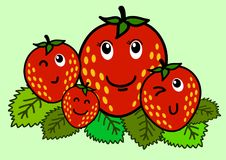 Ilustracja Rozochocony kreskówki truskawki charakter obrazy stock