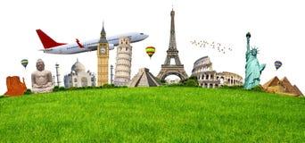 Ilustracja sławny zabytek na zielonej trawie Zdjęcia Royalty Free