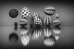 Ilustracja set Easter jajka z geometrycznymi wzorami nad odbijającą powierzchnią ilustracja wektor