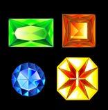 ilustracja set stubarwni gemstones, kryształy diament, ametyst, rubin, szmaragd, topaz, citrine kamienie Fotografia Stock