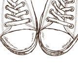 Ilustracja sneakers - ręka rysujący styl Zdjęcia Stock