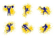 Ilustracja sporty: koszykówka, siatkówka, biega ilustracji