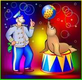 Ilustracja stara żeglarza szkolenia foka żonglować piłkę Zdjęcia Stock
