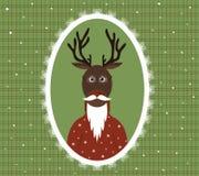 Ilustracja starszy jeleń z brodą, szkłami i kardiganem w wzorzystości ramie, Zdjęcia Royalty Free