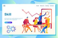 Ilustracja strony internetowej pojęcie biznesowy spotkanie, praca zespołowa, trenuje fachową umiejętność ilustracji