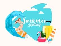 Ilustracja surfingowiec kobiety pikowania woda z podr??n? torb?, p?ywa kaczki na abstrakcjonistycznym tle ilustracji