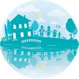 Ilustracja szczęśliwa rodzina i dom sen ilustracji