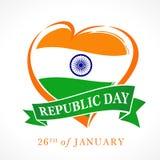 Ilustracja Szczęśliwy Indiański republika dnia 26 Stycznia świętowanie, data na której konstytucja India tworzył Obraz Stock